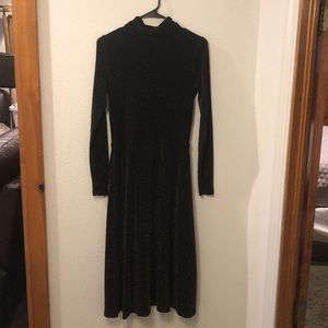 H&M black midi dress with metallic pattern